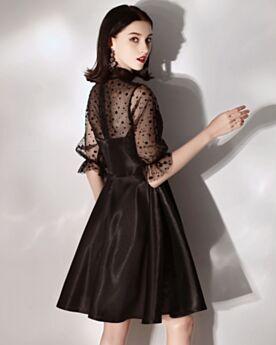 Turtleneck Short Semi Formal Dresses Cocktail Dress Black LBD