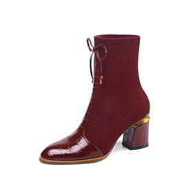 ワイン レッド ファッション チェルシー ヒール チュール 革 ニー ハイソックス ブーツ ミッドヒール 4819081097-1