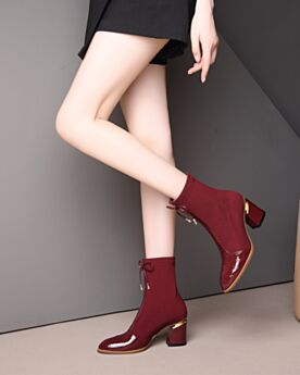 Sock Patent Block Heel Boots Burgundy Leather Ankle Boots Mid Heel Stretch Tulle Round Toe Chelsea