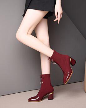 Tüll Leder Sock Boots Mit Schleife Stiefeletten