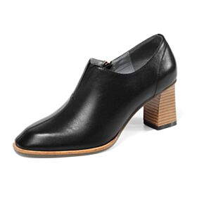Winter Fallen Oxford Schuhe Runde Zeh 6 cm Mittel Heel Blockabsatz Schwarz Chunky Heel Klassisch
