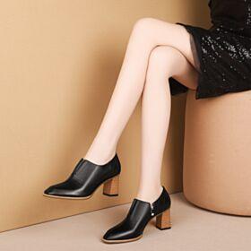 6 cm Heel 2019 Zakelijke Blokhakken Klassiek Zwart Leren Oxford Schoenen