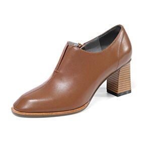 De Invierno Tacon Medio Trabajo Tacon Ancho Punta Redonda Zapatos Oxford Mujer Cuero Marrones