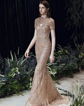 Luxe Cristal Perlage Avec La Queue Robes De Soirée Droite Glitter Dorée Robe Noel
