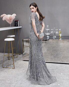 Silber Prinzessin Pailletten Ballkleid Herrlich Glitzernden Perlen Rückenfreies V Ausschnitt Abendkleider
