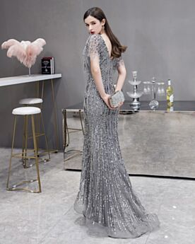 Spring Long Formal Evening Dress Open Back Short Sleeve Prom Dress Sequin