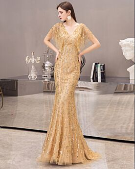 Prom Dresses Formal Evening Dress Sparkly Ball Gowns Backless Gold Luxury Sequin