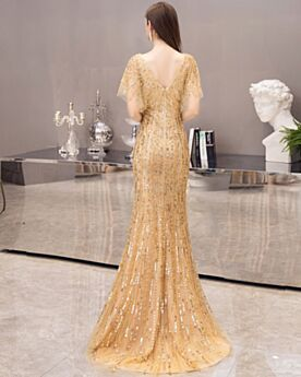 Silvester Kleider Herrlich Kurzarm Gold Pailletten Ballkleid Glitzernden V Ausschnitt Festliche Abendkleid Perlen