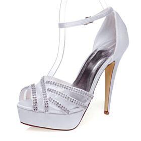 Brautschuhe Stilettos Knöchelriemen Plateau Elegante Peeptoes Sandaletten Damen Weiß