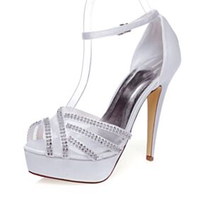With Rhinestones Bridal Shoes Stiletto 5 inch High Heel White 2020 Peep Toe Satin Sandals Platform