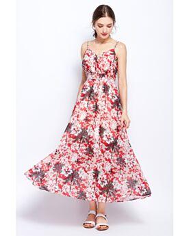 Impero Senza Maniche Bohemien Con Schiena Scoperta Slip Dress Scollo A V Lungo Vestito A Fiori Swing Rosso