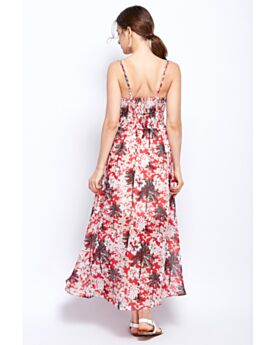 Empire Chiffon Long Swing Slip Dress Casual Dress Bohemian Beachwear Dresses 2018 Open Back