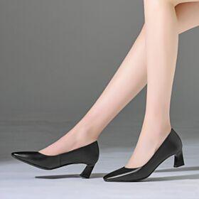 Vestido Para Oficina Tacon Ancho Clasico Casuales Negro Punta Redonda Tacon Medio Zapatos