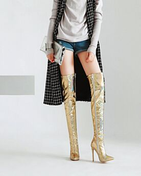 Sparkly High Heel Stilettos Patent Thigh High Boots Gold Faux Leather Fur Lined