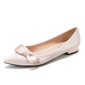 Klassisch Schlichte Brautjungfer Schuhe Ballerina Schuhe Flache