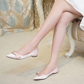 Simpele Klassiek Met Strik Bruidsmeisjes Schoenen Platte Champagne Gouden Satijnen Runtige Neus Ballerina Schoenen
