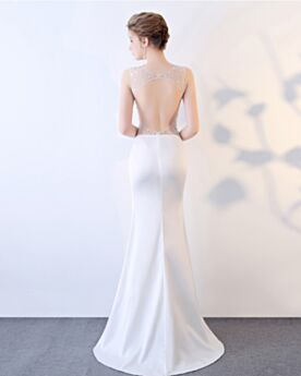 Prom Dresses Sheath Low Cut Satin Open Back White Sequin Long Sexy Formal Dresses Sleeveless Transparent