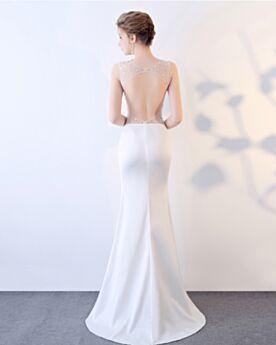 Sexys Largos Lentejuelas Con Cola Vestidos De Noche Entallados Transparente Escotados Satin Blanco Vestidos De Prom Fiesta