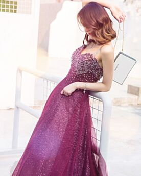2019 Maroon Sleeveless Sweet 16 Dresses Customizable Prom Dress Sparkly Long Sequin Beautiful