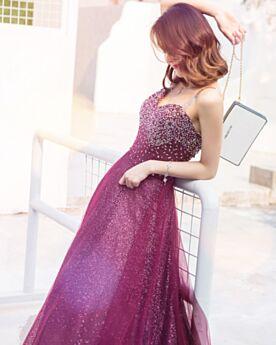 De Lentejuelas Tul Escote Corazon Color Guinda Brillantes Vestidos Prom Largos Chic Espalda Descubierta Juvenil