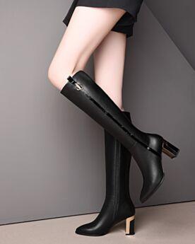 Schuhe Chunky Heel Hohe Stiefel Kniehohe Schwarz Blockabsatz Gefütterte Lack