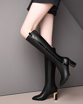 Thick Heel Knee High Boots Leather Pointed Toe Patent Tall Boots Fur Lined 3 inch High Heeled Black