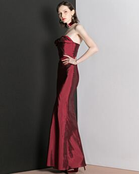 Evening Dress Bandeau Long Wedding Guest Dress Open Back Sheath Taffeta Simple Burgundy Vintage
