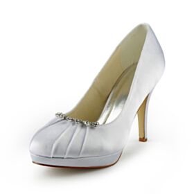 Stilettos Brautschuhe Pumps Mit 10 cm High Heels Elegante Runde Zeh 2020