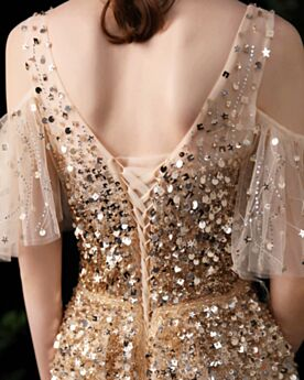 Princess Luxury Backless Beaded Prom Dress Sparkly Half Sleeve Formal Evening Dresses Plunge Sweet 16 Dress Empire Sequin Customizable