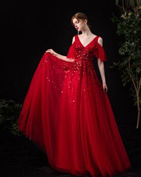 Sweet 16 Dress Long Plunge A Line Prom Dress Evening Dresses Open Back Cold Shoulder Red Sequin Beading Sparkly