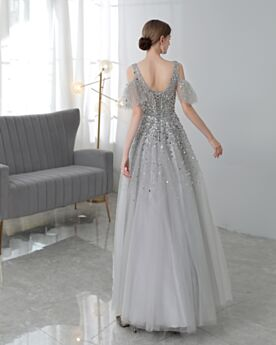 Princess Formal Evening Dresses Sequin Long Prom Dresses Homecoming Dress Bell Sleeved Plunge Empire Sparkly Sweet 16 Dress Silver