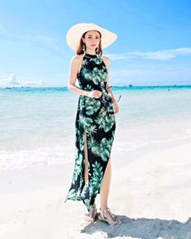 Summer Backless 2018 High Neck Beach Dress Slit Dress Chiffon Long