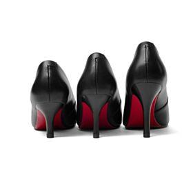 Tacon Alto Clasico En Punta Fina Suela Roja De Piel Informales Negro Zapatos Con Tacon