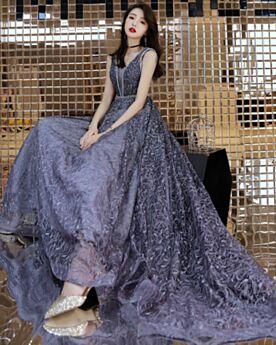 Luxury Sleeveless Lace Beading Gray Long Prom Dresses Evening Dresses With Train Princess