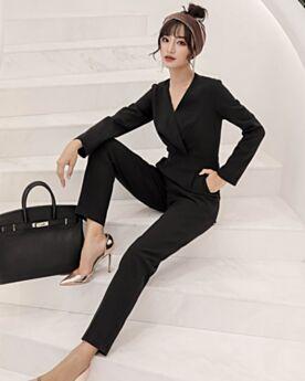 Black 2019 Long Sleeve Jumpsuit Work Dress Polyester Modest Wrap