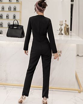 Black 2019 Long Sleeve Jumpsuit Work Dress Polyester Modest Wrap