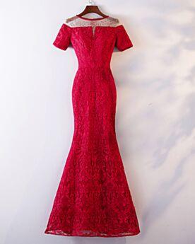 Trauzeugin Kleid Spitzen Kurzarm Rot Abendkleider Strasssteine 2019 Meerjungfrau Elegante