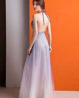 Lavendel Abendkleid Rückenfreies Pailletten Empire Perlen Tiefer Ausschnitt Fit N Flare Ballkleider Neckholder