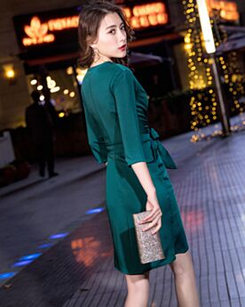 Dividido Vestidos Semi Formales Verde Botella Manga Larga Vestidos De Fiesta Invitada Boda Corto Wrap
