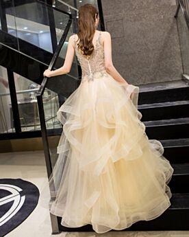 バックレス フリル シャンパン 成人式ドレス オケー ジョン ドレス フレア A ライン カクテル ドレス 深 v ネック 可愛い 5019071115