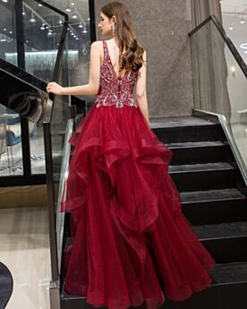 Vestidos Prom Vestidos Coctel Largos Sin Manga Vino Corte A