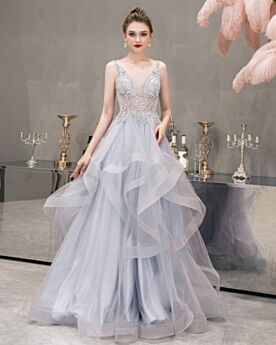 Light Blue A Line Long Open Back Ruffle Beautiful Plunge Sleeveless Pearls Cocktail Dresses Prom Dresses