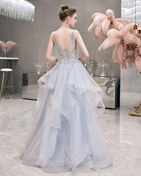 Largos Hombros Descubiertos Azul Claro Espalda Descubierta Vestidos De Coctel Para Fiesta Escote V Pronunciado Tul Vestidos De Prom Perlas Bonitos