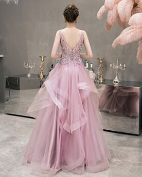 Robe De Cocktail Rose Poudré Epaule Nu À Volants Chic Robe De Bal Princesse
