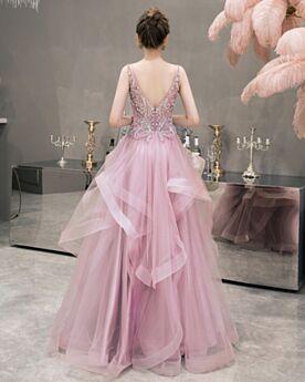 Rückenausschnitt Lange Perle Rosa Schulterfreies Fit N Flare Perlen Cocktailkleider Tiefer Ausschnitt Tüll Schöne Ärmellos Ballkleider