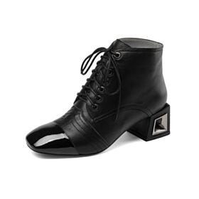 Tacon Medio Con Cordones Negro De Invierno Zapatos Oxford Charol Tacon Ancho De Piel Clasico Trabajo