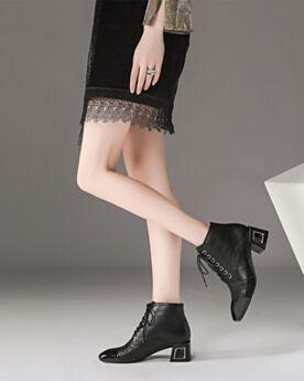 Classique Chaussures Oxford 5 cm Petit Talon Cuir Talon Carrés Lacets Chaussures Travail Noir