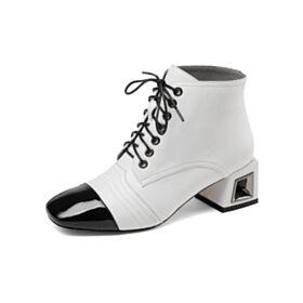 Tacon Medio Punta Redonda Zapatos Oxford Blancos Tacon Ancho Cordones Clasico