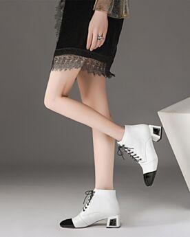 Weiß Blockabsatz Oxford Schuhe Klassisch Blockfarben Business Schuhe Damen