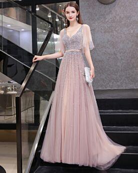 Avec La Queue Robes De Soirée Empire Princesse Sequin Robe De Bal Décolleté Rose Dos Nu